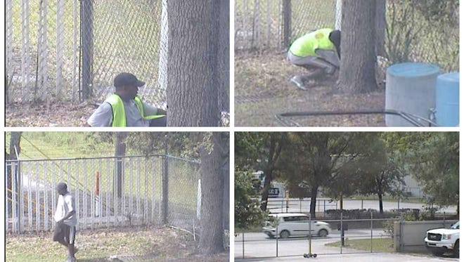 Still photos from the break-in, caught on surveillance cameras, show the suspect wearing a yellow or green safety vest. The suspect's vehicle can be seen at the bottom right.