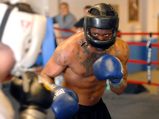 Austin Trout trains for an upcoming fight in this photo from 2012.