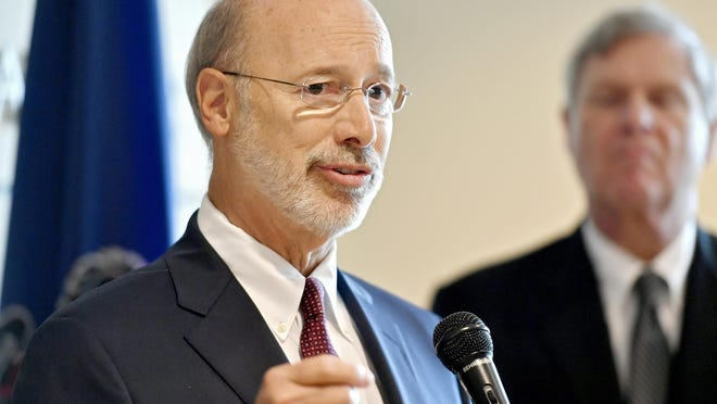 FILE - In this Oct. 5, 2016 file photo, Pennsylvania Gov. Tom Wolf speaks during the White House Rural Forum in Heritage Hall at Penn State's HUB-Robeson Center, in State College, Pa. (Abby Drey/Centre Daily Times via AP, File)