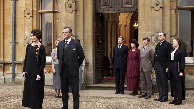 "Elizabeth McGovern as Lady Grantham, left, Hugh Bonneville as Lord Grantham, Dan Stevens as Matthew Crawley, Penelope Wilton as Isobel Crawley, Allen Leech as Tom Branson, Jim Carter as Mr. Carson, and Phyllis Logan as Mrs. Hughes, from the TV series, ""Downton Abbey."""
