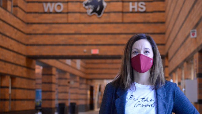 West Ottawa High School counselor Lacy Otteman poses for a photo in the high school. A recent survey of West Ottawa High School students showed nearly 60 percent said they were feeling stressed and anxious.