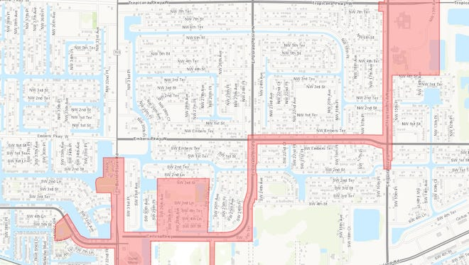 A water main broke, leaving the highlighted areas without service for about two hours Tuesday.