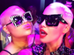 Amber Rose (R) poses for a selfie with a British fan
