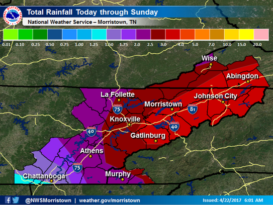 Rainfall totals Saturday through Sunday will vary from