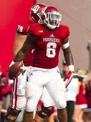 Indiana Hoosiers running back Jordan Howard (8) reacts after scoring during first-half action of a NCAA football game, Saturday, September 5, 2015, in Bloomington.