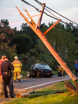 A utility pole was damaged when it was hit by a car at Quentin and Zinns Mill Road in Cornwall Brough on Tuesday, Oct. 11, 2016. The car's driver, Stanley Robinson, of Lebanon, was injured in the crash.