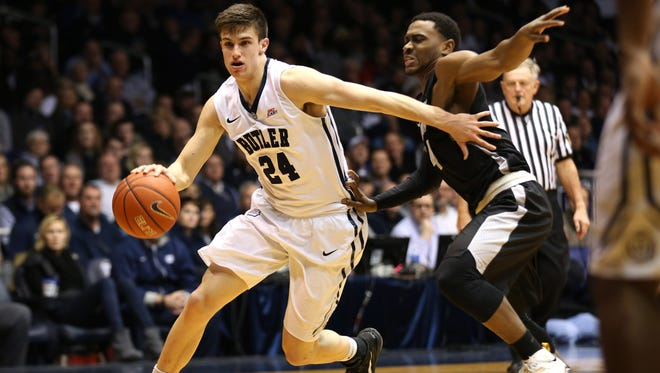 Butler's Kellen Dunham moves the ball against Providence in the first half of the game at Hinkle Fieldhouse Tuesday January 6, 2015.