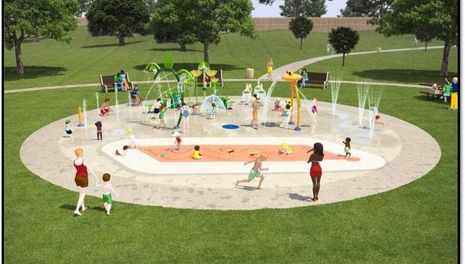 A conceptual rendering for the Fort Lee spray park.