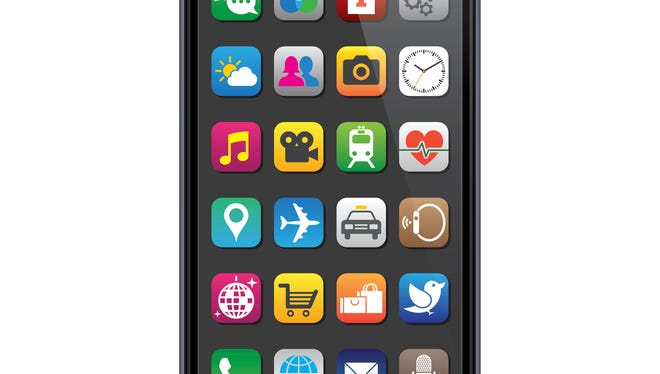 Smartphone with app icons.