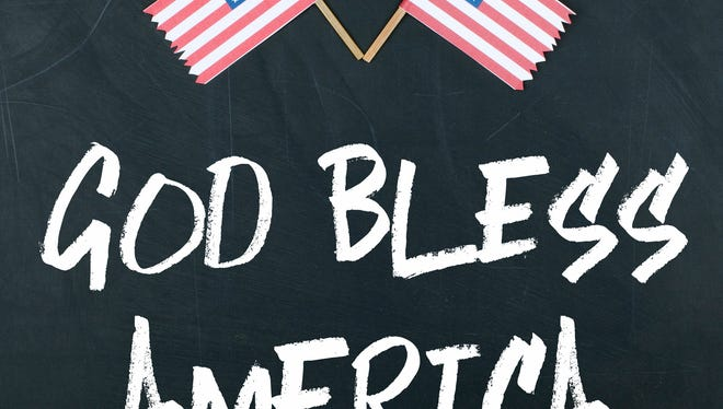 God Bless America message with American Flag