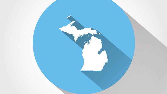 Map state of Michigan