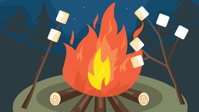 Enjoy family time around a campfire, toasting marshmallows.