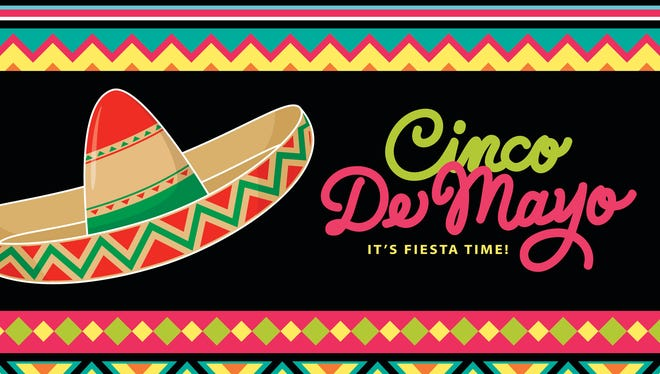 Sombrero (mexican hat) and mexican folk art patterns with cinco de mayo handwritting.