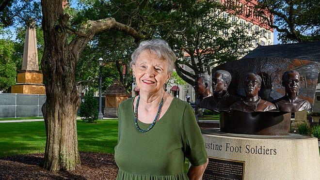 Former St. Augustine commissioner Sandra Parks stands in the Plaza de la Constitucion in St. Augustine on Thursday.