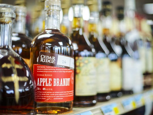 Cedar Ridge Apple Brandy, distilled at Cedar Ridge Vineyards in Swisher, is available for sale at Ingersoll Wine and Spirits in Des Moines.