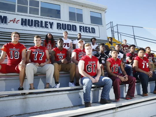2015 All-Big Bend football first team offense. Front row, from left: Alex Clark (NFC), Korey Charles (NFC), Will Waddell (Leon); Second row, from left: Offensive Player of the Year Feleipe Franks (Wakulla), Tyler Teegen (Wakulla), Keith Gavin (Wakulla), Aaron Price (Wakulla), Sammy Carter (West Gadsden), Stephon Simpkins (East Gadsden), Marcus Fleming (Madison County), Patrick Brown (Madison County); Back row, from left: Demarcus Lindsey (Wakulla), Chase Mead (Chiles), John Mitchell (Chiles), Shane Sanders (Chiles), Travius Harris (Rickards), Chase Allbaugh (Florida High); Not pictured: Darius Bradwell (Godby), Chasen Roulhac (Blountstown), Chris Reaves (Taylor County)