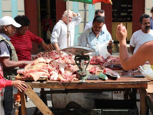 Fresh meat stall in Havana