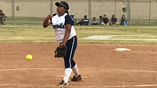 Freshman pitcher Eryka Gonzales fires a pitch against Santa Monica in a Division 2 quarterfinal game Thursday at Camarillo High. Gonzales allowed one hit in a 9-1 win.