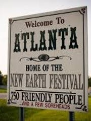 The welcome sign for Atlanta, Ind.