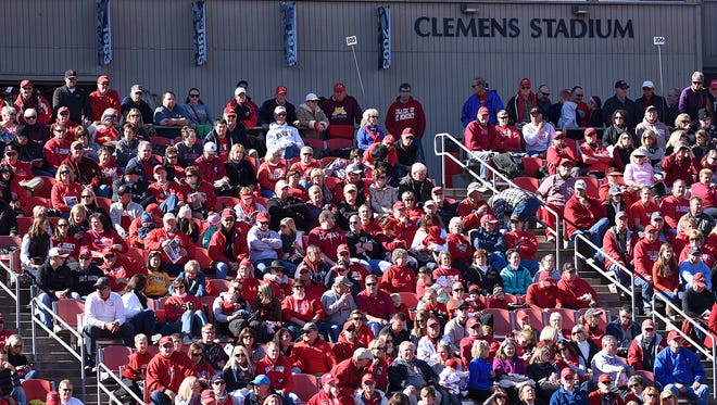 Fans fill the stands for Saturday's homecoming game at Clemens Stadium in Collegeville.