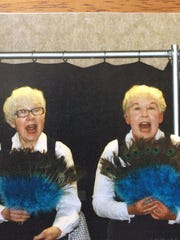Twins Barbara Townsend and Ann Jaklich perform their sister act.