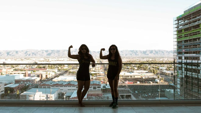 Phoenix residents Maxima Guerrero (left) and Carla Chavarria started an activewear line, Ganaz Apparel, that infuses workout gear with Mexican symbols and sayings.
