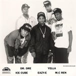 An early photo of N.W.A. Top: Dr. Dre, Yella. Bottom: Ice Cube, left, Eazy-E and MC Ren.