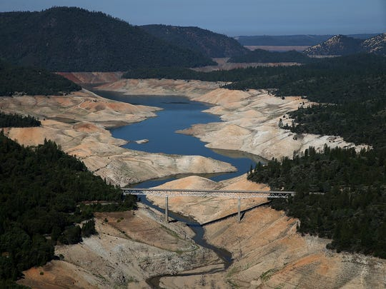 A section of Lake Oroville is  nearly dry Aug. 19, 2014, in Oroville, Calif.