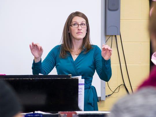 Maine-Endwell choir teacher Kristina Ruffo during rehearsal