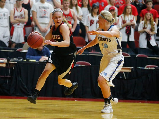 West Branch's Tatum Koenig drives the ball past Unity