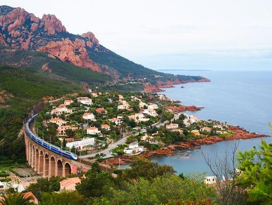 High speed train and Mediterranean Sea