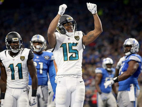 Jaguars wide receiver Allen Robinson celebrates a touchdown catch against the Lions on Nov. 20, 2017 at Ford Field.