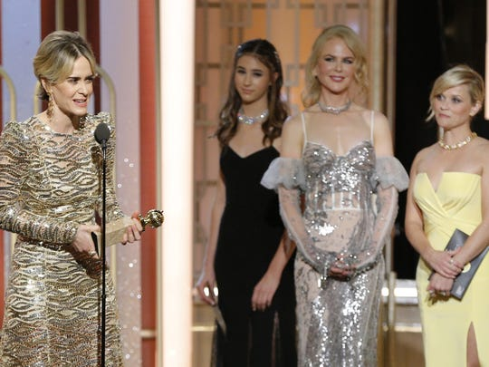 Sarah Paulson accepts her Golden Globe for best actress in a miniseries or TV movie.