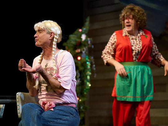 """Scott Treadway and Preston Dyar play every role in """"A Tuna Christmas"""" at Flat Rock Playhouse."""