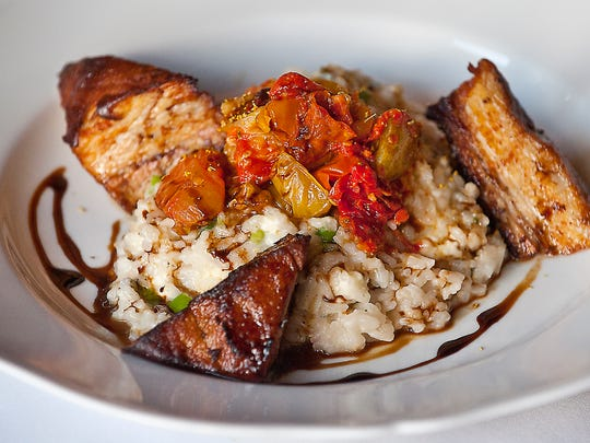 Volare Restaurant's new Risotto di Miale: Cramy parmesan risotto swerved with Stone Cross Farm pork belly, scallions, gorgonzola cheese, fennel pollen, roasted tomato relish and finished with aged balsamic vinegar.06 September 2017