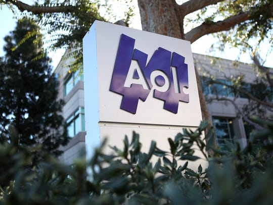 The AOL logo posted on a sign in front of the AOL Inc. offices in Palo Alto, California.