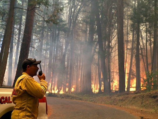 A Cal Fire firefighter monitors the Rim Fire as it