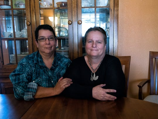 Linda Griego, right, has 26 years of sobriety, and counts 25 years in therapy. She married Glenda Chavez, left, the woman she calls her soul mate.