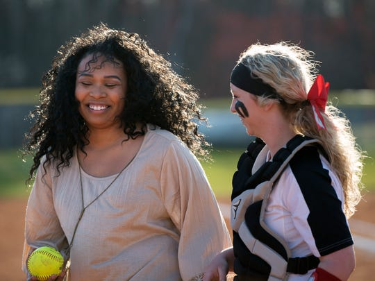 Former Lexington pitcher Shelese Arnold smiles while preparing to throw the first pitch Thursday, March 15, 2018, before Lexington's 4-2 victory against Tipton-Rosemark Academy at Lexington.