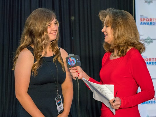 North Vermilion's Kaylee Lopez is interviewed during the 2018 Daily Advertiser Sports Awards banquet held in May.