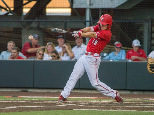 UL's Hunter Kasuls hits the ball as the Ragin' Cajuns