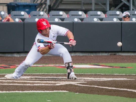 UL's Zach Lafleur connects a bunt as the Ragin' Cajuns