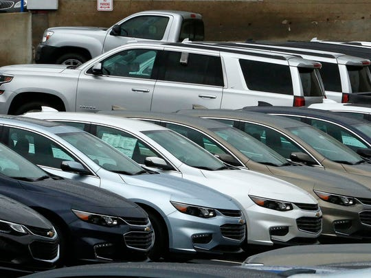 Chevrolet cars on the lot of a dealer in Pittsburgh in January 2017.