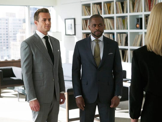 Gabriel Macht as Harvey Specter and Dule Hill as Alex
