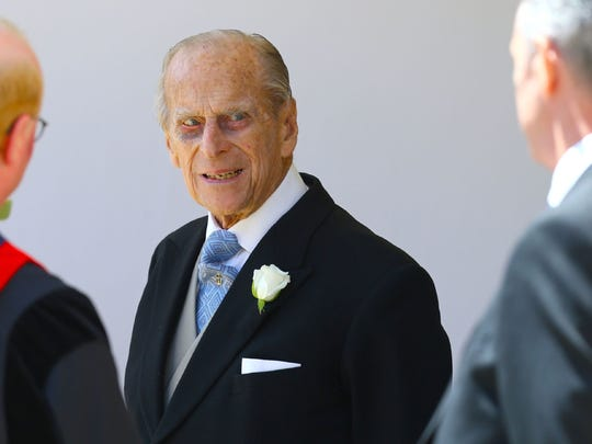Prince Philip at the wedding of Prince Harry and Meghan Markle at St George's Chapel, Windsor Castle, in Windsor.