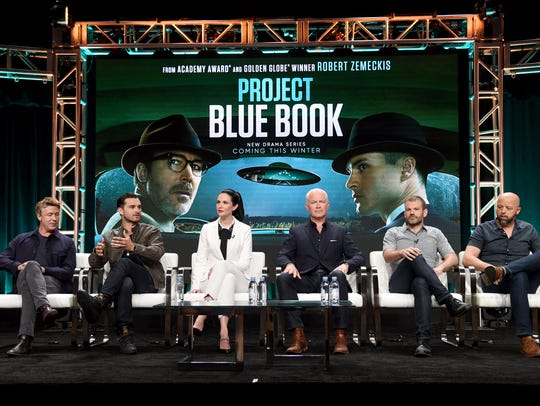 The cast and producers of History's 'Project Blue Book'