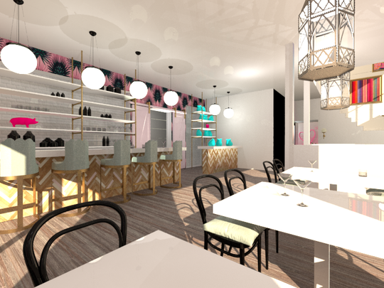 A rendering of the popcorn cafe and bar Just Pop In!