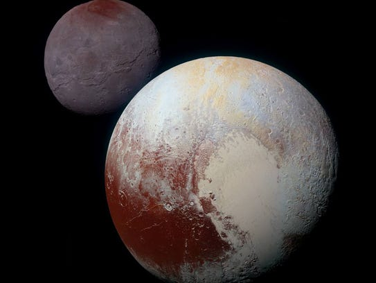 The heart  shape on Pluto, here with its moon Charon,