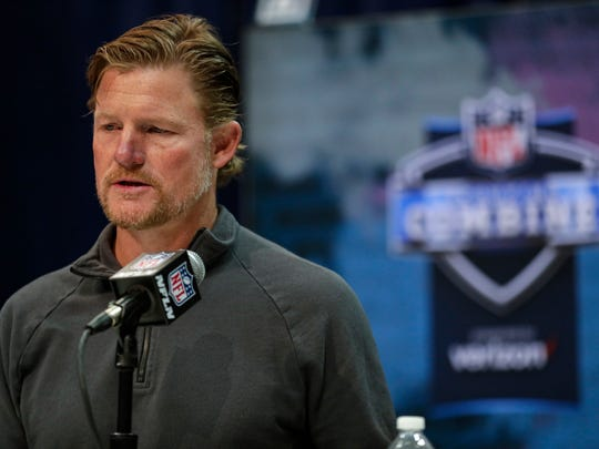 FILE - In this Feb. 25, 2020, file photo, Los Angeles Rams general manager Les Snead speaks during a news conference at the NFL football scouting combine in Indianapolis. (AP Photo/Michael Conroy, File)