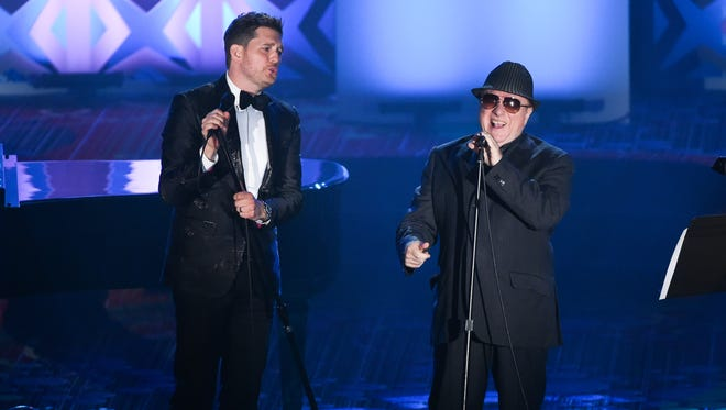 Honoree Van Morrison and Michael Buble perform together at the 46th Annual Songwriters Hall Of Fame Induction and Awards Gala at the Marriott Marquis on Thursday, June 18, 2015, in New York.